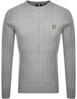 Lyle And Scott Crew Neck Cable Knit Jumper Grey