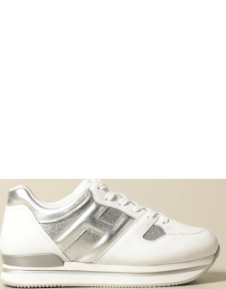 H222 Hogan platform sneakers in smooth and laminated leather