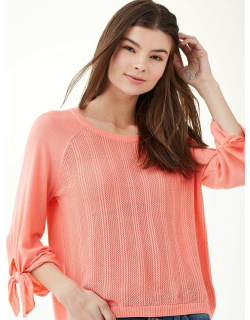 Cashblend Sleeve Tie Pullover Sweater