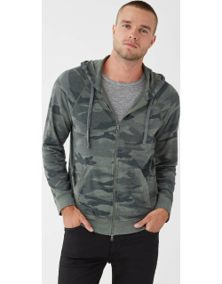Splendid Mens Sonoma French Terry Camo Zip Up Hoodie Olive Branch