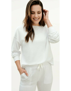 Splendid Womens Eco French Terry Pullover Sweater WHITE