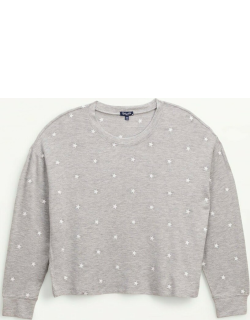 Splendid Womens Embroidered Star Pullover Sweater Heather Grey/Stars