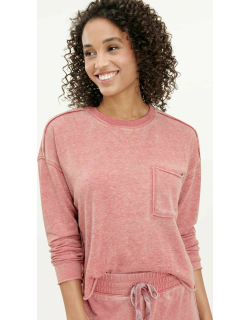 Splendid Womens Eco Terry Burnout Pullover Sweater Sienna