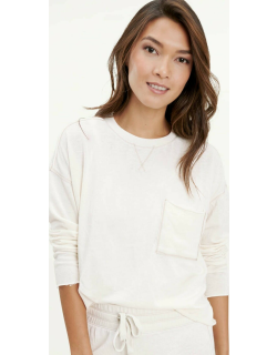 Splendid Womens Eco Terry Burnout Pullover Sweater STONE