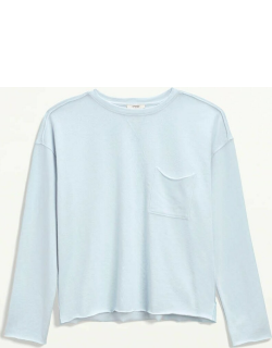 Splendid Womens Eco Terry Burnout Pullover Sweater French Blue