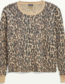 Splendid Womens Mineral Wash Thermal Pullover Sweater Natural Leopard