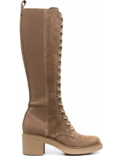 Gianvito Rossi lace-up suede knee boots