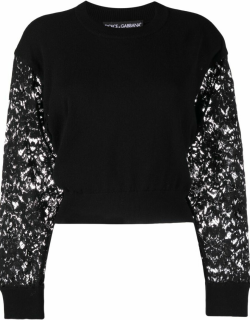 Dolce & Gabbana lace-sleeve cropped jumper