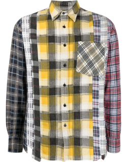 Needles check-panelled flannel shirt