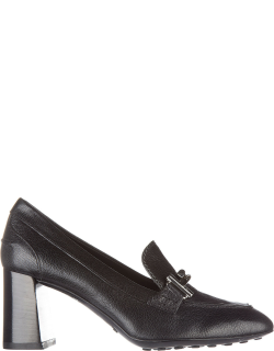 Women's leather pumps court shoes high heel double t