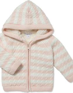 Striped Knit Sherpa Lined Hooded Jacket,