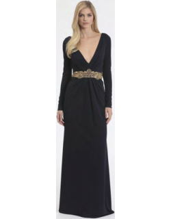 Badgley Mischka Couture Long Sleeve Jersey Evening Gown