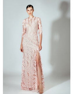 Beside Couture by GEMY 3/4 Sleeve Pink Evening Gown