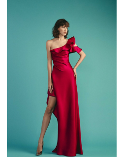 Beside Couture by GEMY Ruffled Asymmetric Gown