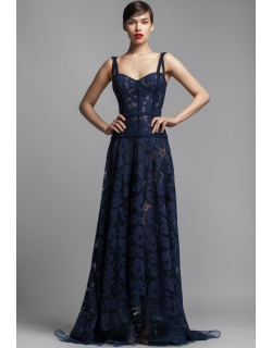 Beside Couture by GEMY Sleeveless Navy Blue Floral Evening Gown