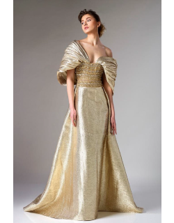 Divina by Edward Arsouni Gold Brocade Evening Gown