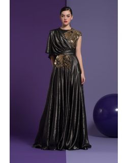 Isabel Sanchis Black Embroidered Ariana Gown