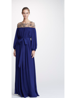 Marchesa Double Georgette Navy Caftan Gown