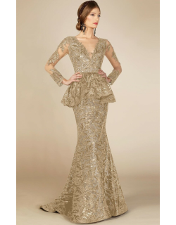 MNM Couture Long Sleeve Peplum Champagne Evening Gown