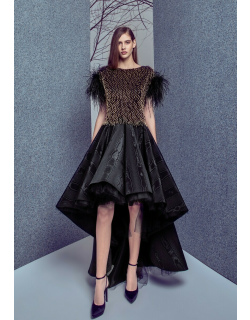 Gemy Maalouf Feathered Embellished Top and High Low Moire Skirt