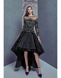 Gemy Maalouf Illusion Neck Top and High Low Moire Skirt