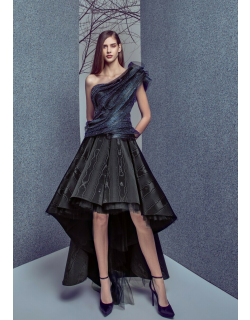 Gemy Maalouf One Shoulder Top and High Low Moire Skirt