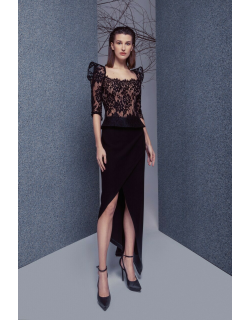 Gemy Maalouf Structured Top and High Low Skirt