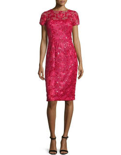 David Meister Lace Short Sleeve Cocktail Dress