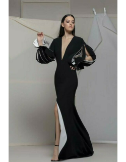 Isabel Sanchis Agrigentos Plunging Neck Long Sleeve Gown