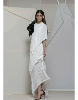 Isabel Sanchis Apice Asymmetrical Pleated Gown