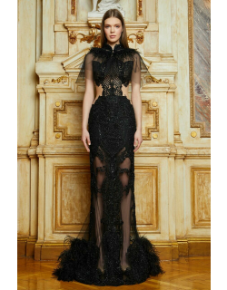 Cristallini Embellished Feathered Gown with Cape