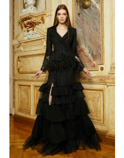 Cristallini Long Sleeve Feathered Jacket and A-Line Skirt