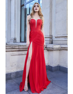 Cristallini Strapless Red Pleated Evening Gown
