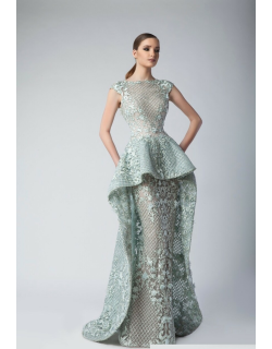 Divina by Edward Arsouni Cap Sleeve Peplum Lace Evening Gown