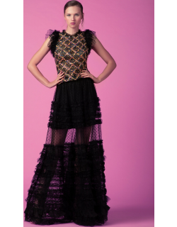 Gemy Maalouf Ruffled Sequined Top and Long Lace Skirt