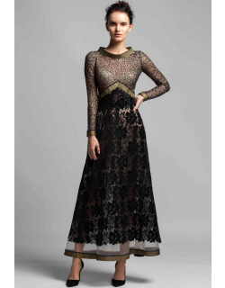 Gemy Maalouf Long Sleeve Embellished Bodice Evening Gown