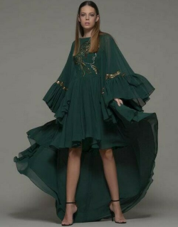 Isabel Sanchis Arvier Long Sleeve High Low Gown