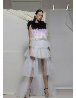Isabel Sanchis Atrani Feathered Top and High Low Skirt