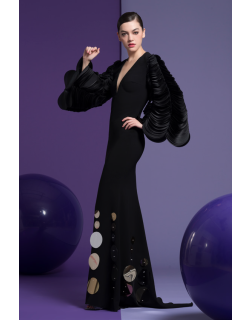 Isabel Sanchis Black Long Sleeve Clary Gown