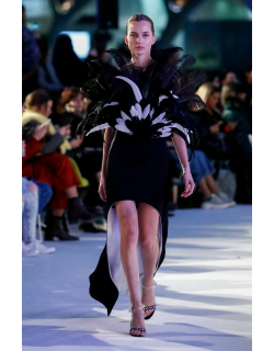 Isabel Sanchis Blello Feathered Cocktail Dress