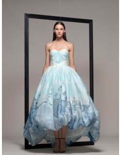Isabel Sanchis Blue Strapless High-Low Evening Gown