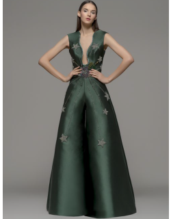 Isabel Sanchis Embroidered Green Jumpsuit
