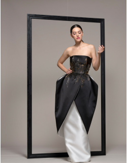 Isabel Sanchis Embroidered Strapless Peplum Evening Gown