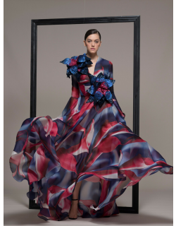 Isabel Sanchis Long Sleeve Floral A-Line Evening Gown