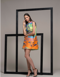 Isabel Sanchis Sleeveless Belted Mini Cocktail Dress