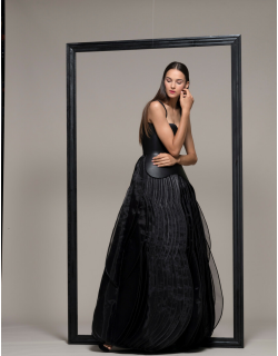 Isabel Sanchis Sleeveless Black A-Line Evening Gown
