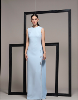 Isabel Sanchis Sleeveless Blue Evening Gown