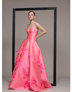 Isabel Sanchis Sleeveless Pink A-Line Evening Gown
