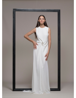 Isabel Sanchis Sleeveless White Evening Gown