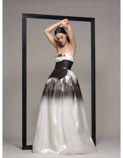 Isabel Sanchis Strapless Belted Evening Gown